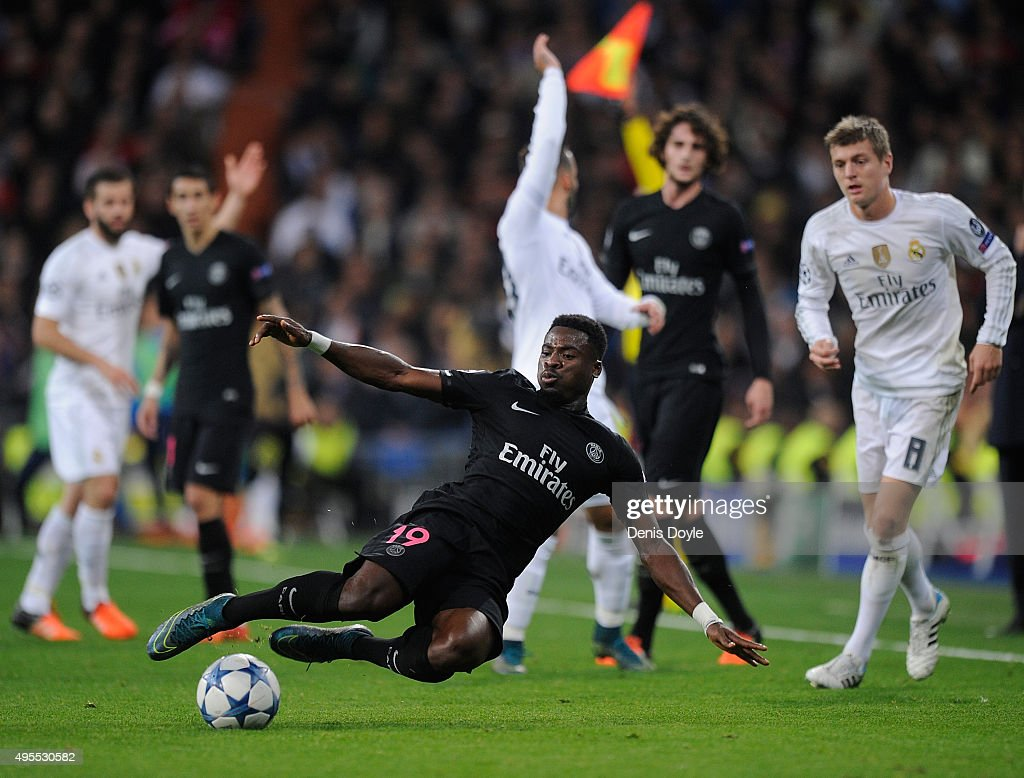Serge Aurier of Paris Saint-Germain in action during the UEFA Champions League Group A match between Real Madrid CF and Paris Saint-Germain at estadio Santiago Bernabeu on November 3, 2015 in Madrid, Spain.