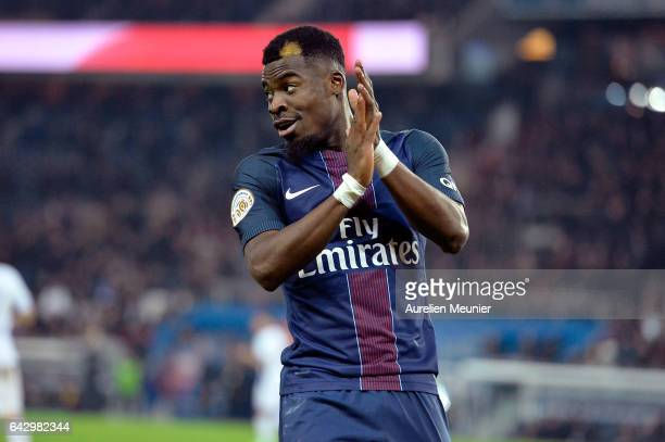 Serge Aurier of Paris SaintGermain reacts during the Ligue 1 match between Paris SaintGermain and Toulouse FC at Parc des Princes on February 19 2017...