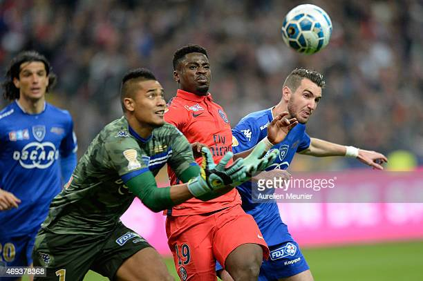 Serge Aurier of PSG in action during the French League Cup Final between Paris SaintGermain and SC Bastia FC at Stade de France on April 11 2015 in...