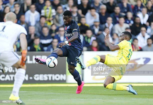 Serge Aurier of PSG in action during the French Ligue 1 match between FC Nantes and Paris SaintGermain at Stade de la Beaujoire on September 26 2015...