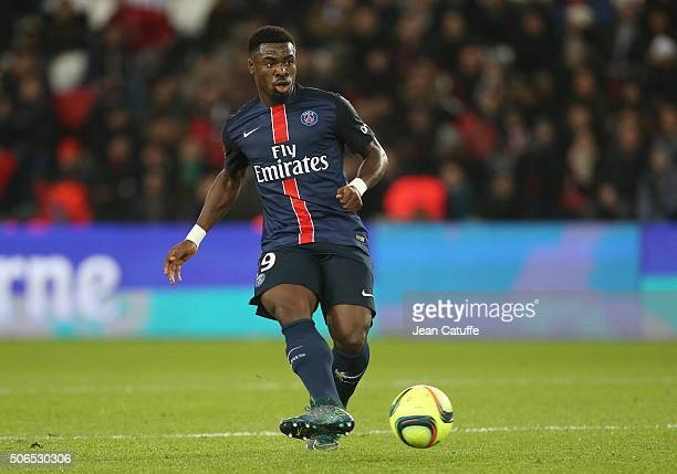 Serge Aurier of PSG in action during the French Ligue 1 match between Paris SaintGermain and SCO Angers at Parc des Princes stadium on January 23...