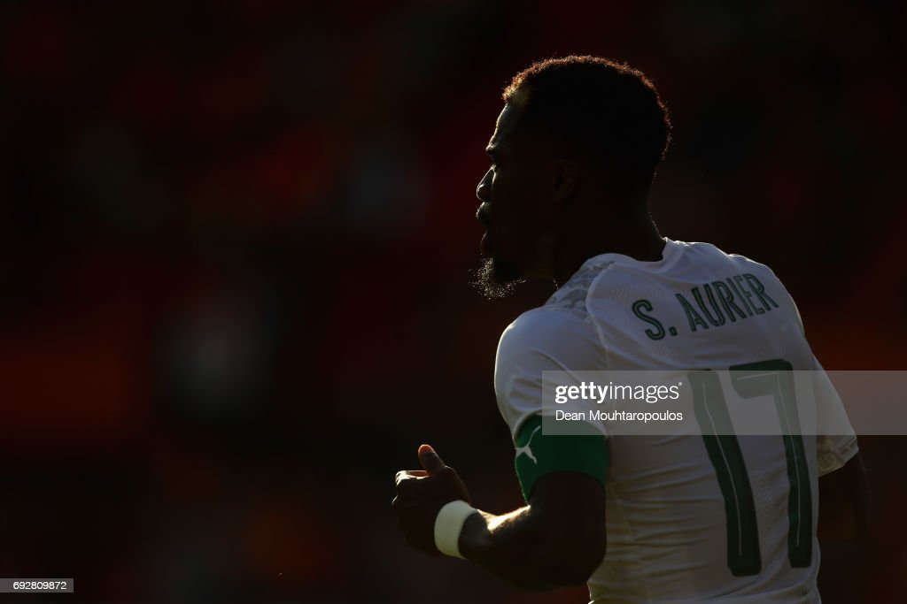 Serge Aurier of the Ivory Coast looks on during the International Friendly match between the Netherlands and Ivory Coast held at De Kuip or Stadion Feijenoord on June 4, 2017 in Rotterdam, Netherlands.