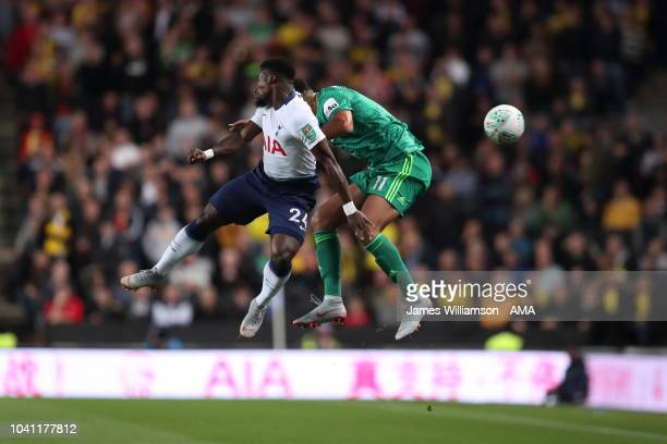 Serge Aurier of Tottenham and Adam Masina of Watford during the Carabao Cup Third Round match between Tottenham Hotspur and Watford at Stadium mk on...