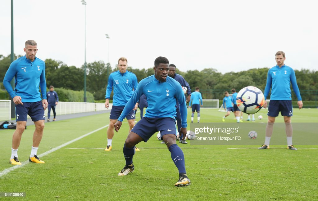 Serge Aurier of Tottenham during the Tottenham Hotspur training session at Tottenham Hotspur Training Centre on September 8, 2017 in Enfield, England.