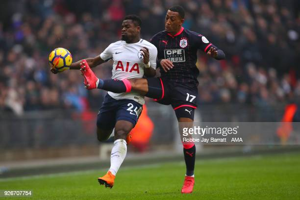 Serge Aurier of Tottenham Hotspur and Rajiv Van La Parra of Huddersfield Town during the Premier League match between Tottenham Hotspur and...
