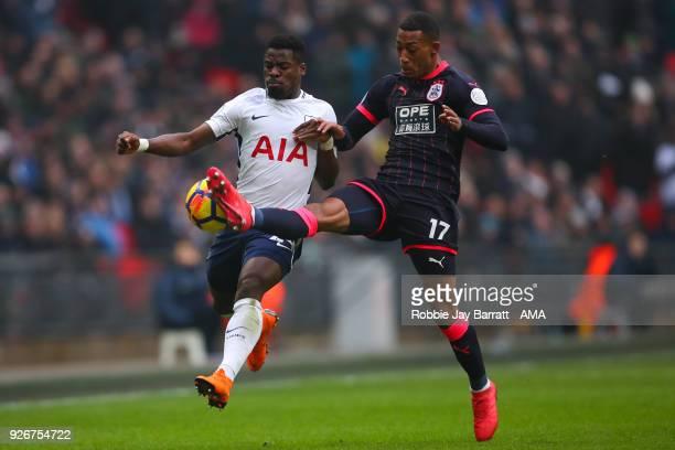 Serge Aurier of Tottenham Hotspur and Rajiv Van La Parra of Huddersfield Town during the Premier League match between Tottenham Hotspur and...