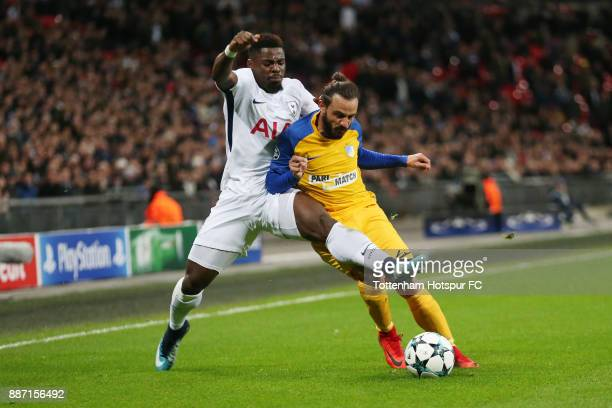 Serge Aurier of Tottenham Hotspur and Stathis Aloneftis of Apoel FC during the UEFA Champions League group H match between Tottenham Hotspur and...