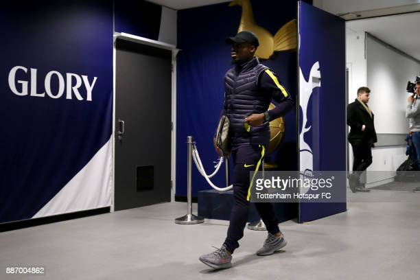 Serge Aurier of Tottenham Hotspur arrives ahead of the UEFA Champions League group H match between Tottenham Hotspur and APOEL Nicosia at Wembley...