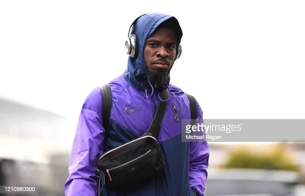 Serge Aurier of Tottenham Hotspur arrives at the stadium prior to during the Premier League match between Burnley FC and Tottenham Hotspur at Turf...
