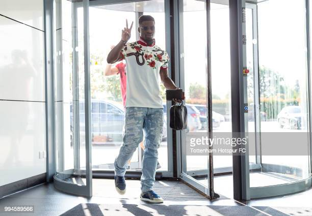 Serge Aurier of Tottenham Hotspur arrives for pre season training at Tottenham Hotspur Training Centre on July 9 2018 in Enfield England