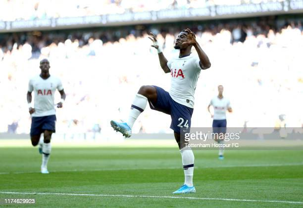 Serge Aurier of Tottenham Hotspur celebrates after his team's second goal during the Premier League match between Tottenham Hotspur and Crystal...