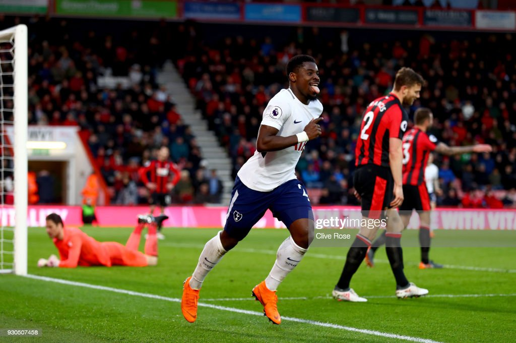Serge Aurier of Tottenham Hotspur celebrates after scoring his sides fourth goal during the Premier League match between AFC Bournemouth and Tottenham Hotspur at Vitality Stadium on March 11, 2018 in Bournemouth, England.