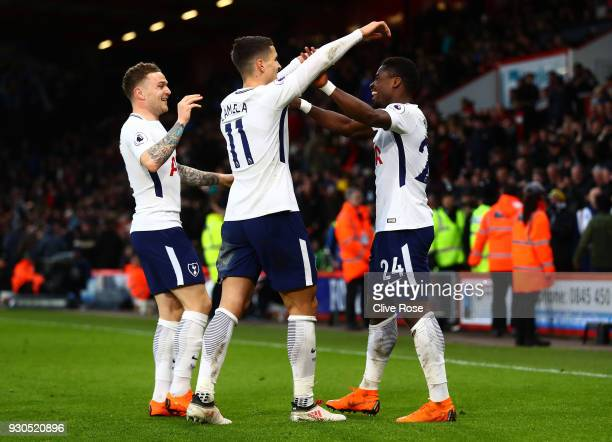 Serge Aurier of Tottenham Hotspur celebrates after scoring his sides fourth goal with Kieran Trippier of Tottenham Hotspur and Erik Lamela of...
