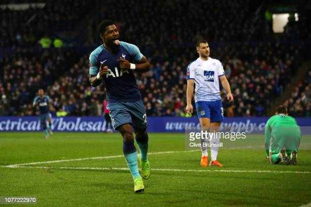 Serge Aurier of Tottenham Hotspur celebrates after scoring his team's third goal during the FA Cup Third Round match between Tranmere Rovers and...