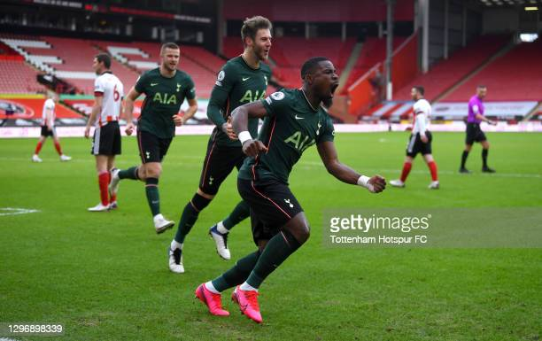 Serge Aurier of Tottenham Hotspur celebrates after scoring their sides first goal during the Premier League match between Sheffield United and...