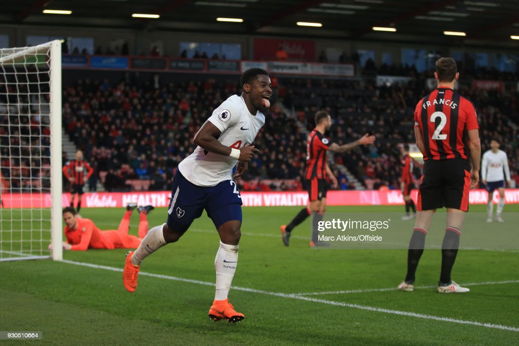 Serge Aurier of Tottenham Hotspur celebrates scoring their 4th goal during the Premier League match between AFC Bournemouth and Tottenham Hotspur at Vitality Stadium on March 11, 2018 in Bournemouth, England.