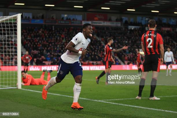 Serge Aurier of Tottenham Hotspur celebrates scoring their 4th goal during the Premier League match between AFC Bournemouth and Tottenham Hotspur at...