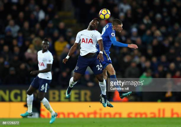 Serge Aurier of Tottenham Hotspur challenges Jamie Vardy of Leicester City during the Premier League match between Leicester City and Tottenham...