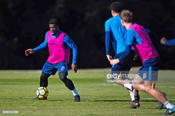 Serge Aurier of Tottenham Hotspur controls the ball during a training session during day three of the Tottenham Hotspur midseason training camp at...