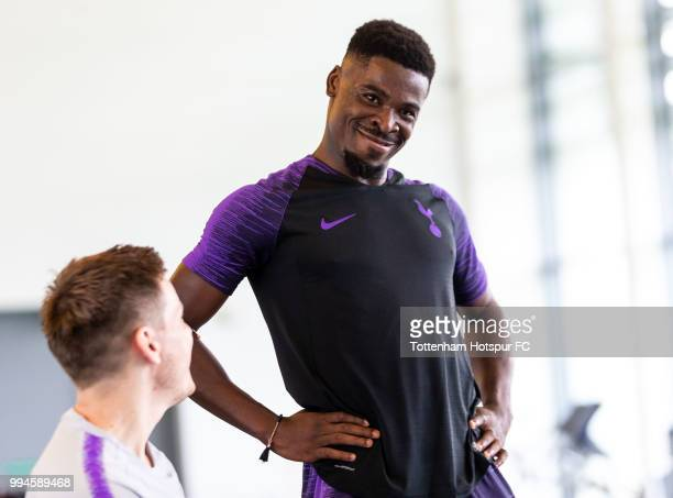 Serge Aurier of Tottenham Hotspur during pre season training at Tottenham Hotspur Training Centre on July 9 2018 in Enfield England