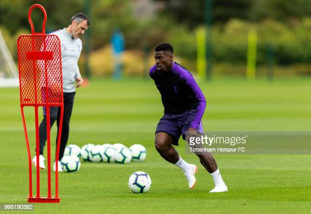 Serge Aurier of Tottenham Hotspur during pre season training at Tottenham Hotspur Training Centre on July 10 2018 in Enfield England