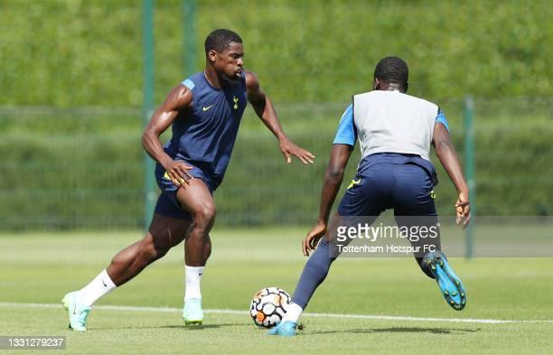 Serge Aurier of Tottenham Hotspur during the Tottenham Hotspur pre-season training session at Tottenham Hotspur Training Centre on July 29, 2021 in...