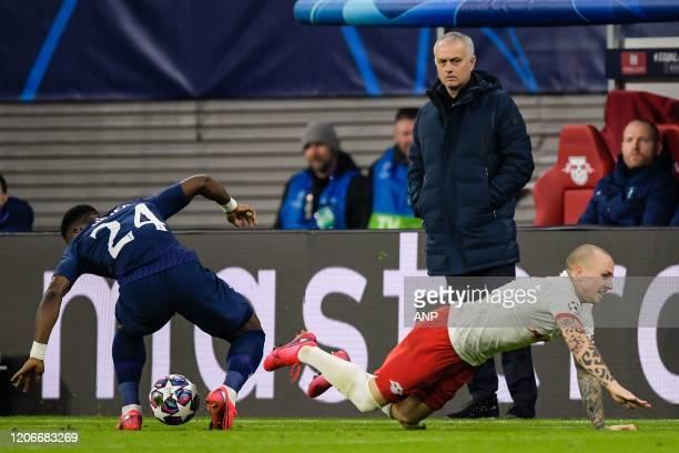 Serge Aurier of Tottenham Hotspur FC Jose Angel Esmoris Tasende of Red Bull Leipzig coach Jose Mourinho of Tottenham Hotspur FC during the UEFA...