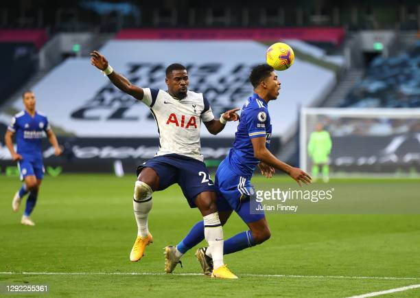 Serge Aurier of Tottenham Hotspur fouls Wesley Fofana of Leicester City leading to a penalty after a VAR check during the Premier League match...