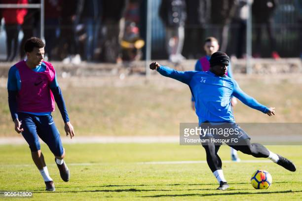 Serge Aurier of Tottenham Hotspur kicks the ball next to his teammate Dele Alli during a training session during day two of the Tottenham Hotspur...
