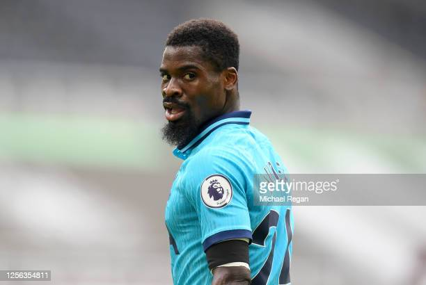 Serge Aurier of Tottenham Hotspur looks on during the Premier League match between Newcastle United and Tottenham Hotspur at St. James Park on July...