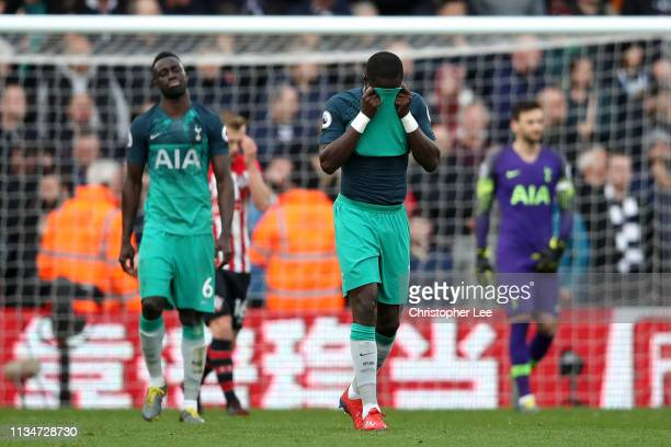 Serge Aurier of Tottenham Hotspur reacts during the Premier League match between Southampton FC and Tottenham Hotspur at St Mary's Stadium on March...