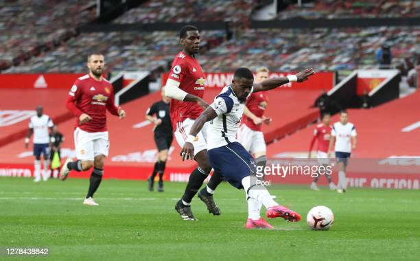 Serge Aurier of Tottenham Hotspur scores his sides fifth goal during the Premier League match between Manchester United and Tottenham Hotspur at Old...