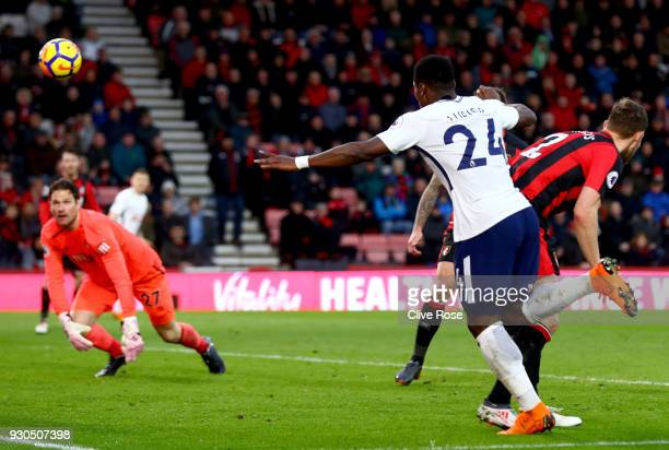 Serge Aurier of Tottenham Hotspur scores his sides fourth goal during the Premier League match between AFC Bournemouth and Tottenham Hotspur at...