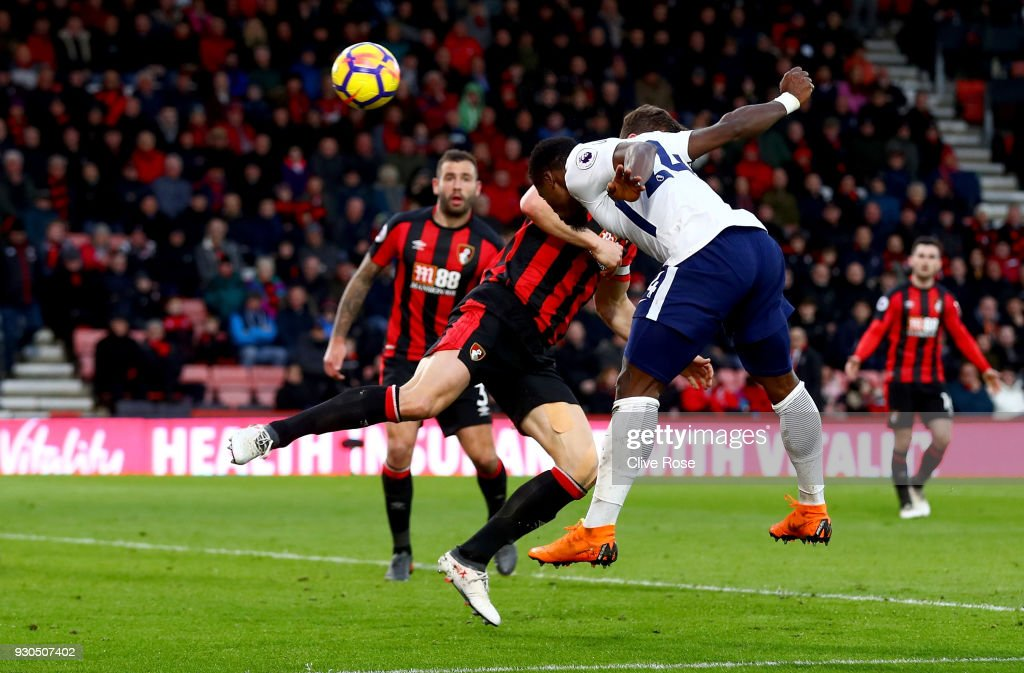 Serge Aurier of Tottenham Hotspur scores his sides fourth goal during the Premier League match between AFC Bournemouth and Tottenham Hotspur at Vitality Stadium on March 11, 2018 in Bournemouth, England.