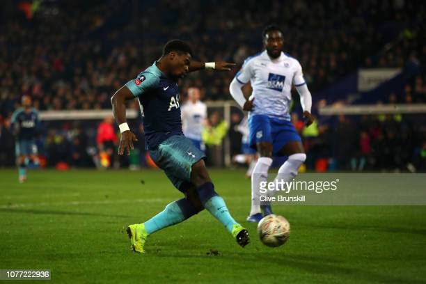 Serge Aurier of Tottenham Hotspur scores his team's third goal during the FA Cup Third Round match between Tranmere Rovers and Tottenham Hotspur at...