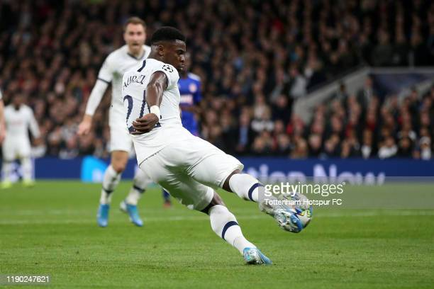 Serge Aurier of Tottenham Hotspur scores his team's third goal during the UEFA Champions League group B match between Tottenham Hotspur and...