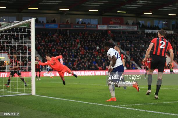 Serge Aurier of Tottenham Hotspur' scores their 4th goal during the Premier League match between AFC Bournemouth and Tottenham Hotspur at Vitality...