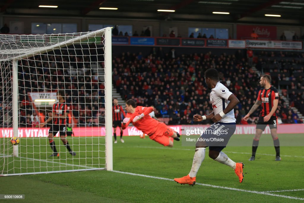 Serge Aurier of Tottenham Hotspur scores their 4th goal during the Premier League match between AFC Bournemouth and Tottenham Hotspur at Vitality Stadium on March 11, 2018 in Bournemouth, England.