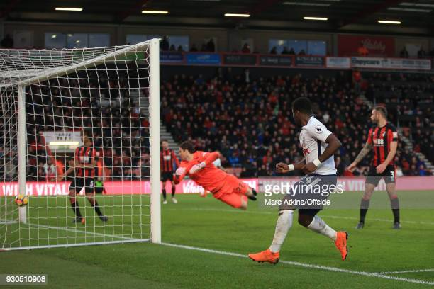 Serge Aurier of Tottenham Hotspur scores their 4th goal during the Premier League match between AFC Bournemouth and Tottenham Hotspur at Vitality...