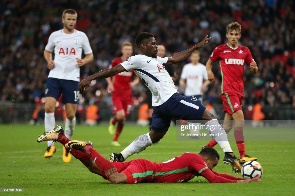 Serge Aurier of Tottenham Hotspur shoots during the Premier League match between Tottenham Hotspur and Swansea City at Wembley Stadium on September 16, 2017 in London, England.