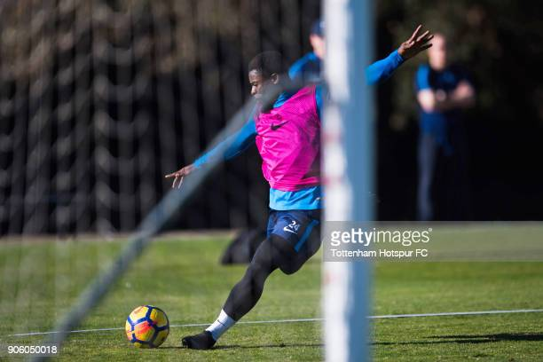 Serge Aurier of Tottenham Hotspur shoots on goal during a training session during day three of the Tottenham Hotspur midseason training camp at High...