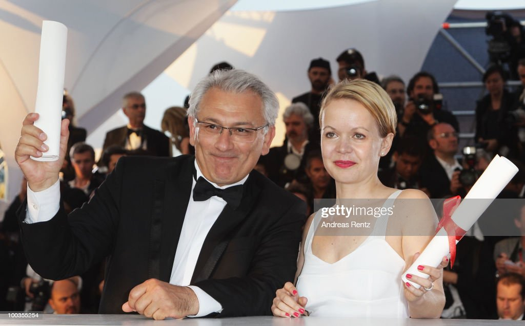Serge Avedikian poses with his Short Film Palme d'Or Award for 'Barking Island' and Frida Kempff poses with her award for Short Film Jury Prize for 'Micky Bader' during the Palme d'Or Award Photocall held at the Palais des Festivals during the 63rd Annual Cannes Film Festival on May 23, 2010 in Cannes, France.