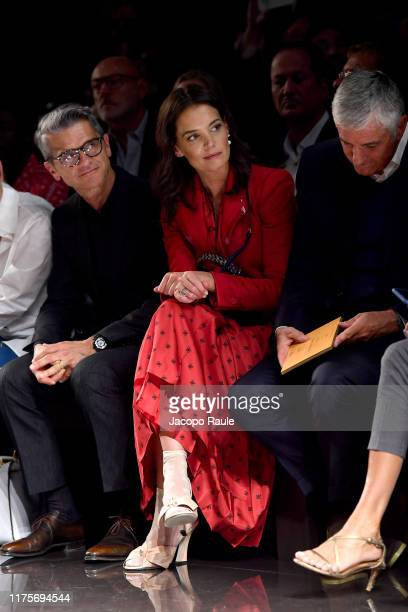 Serge Brunschwig and Katie Holmes attend the Fendi fashion show during the Milan Fashion Week Spring/Summer 2020 on September 19 2019 in Milan Italy