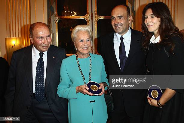 Serge Dassault his wife Nicole Philippe Journo and his wife Karine are pictured after being awarded at the Art Patrons Celebration at Ministere de la...