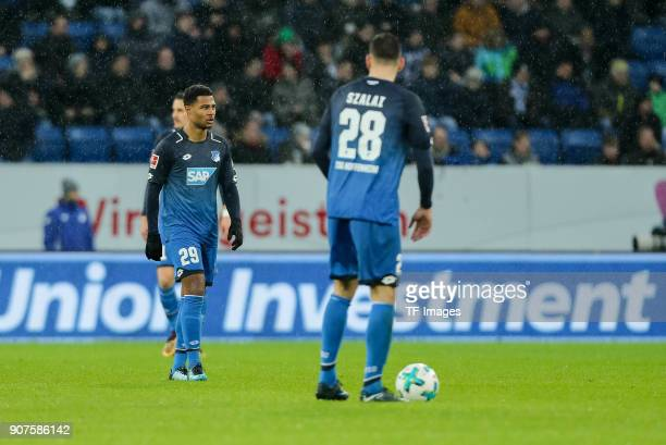 Serge David Gnabry of Hoffenheim and Adam Szalai of Hoffenheim look dejected during the Bundesliga match between TSG 1899 Hoffenheim and Bayer 04...