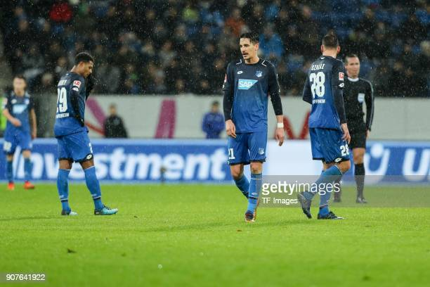 Serge David Gnabry of Hoffenheim Benjamin Huebner of Hoffenheim and Adam Szalai of Hoffenheim look dejected after the Bundesliga match between TSG...