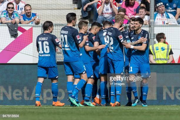 Serge David Gnabry of Hoffenheim celebrates after scoring his team`s first goal with team mates during the Bundesliga match between TSG 1899...