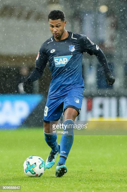 Serge David Gnabry of Hoffenheim controls the ball during the Bundesliga match between TSG 1899 Hoffenheim and Bayer 04 Leverkusen at...