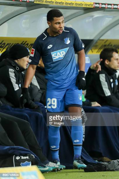 Serge David Gnabry of Hoffenheim highfives with his team during the Bundesliga match between TSG 1899 Hoffenheim and VfB Stuttgart at Wirsol...