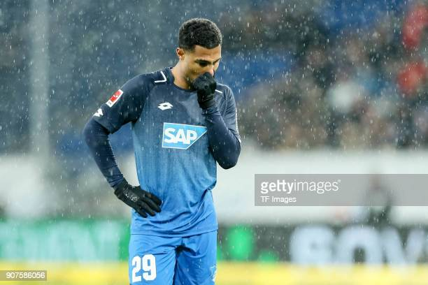 Serge David Gnabry of Hoffenheim looks on during the Bundesliga match between TSG 1899 Hoffenheim and Bayer 04 Leverkusen at RheinNeckarArena on...